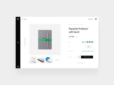 paperan / shopping exploration / product detail minimal wireframe sketch ux ui webdesign e-commerce store shopping detail product