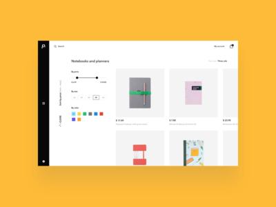 paperan / shopping exploration / filter product shop e-commerce webdesign ux ui paperan shopping filter