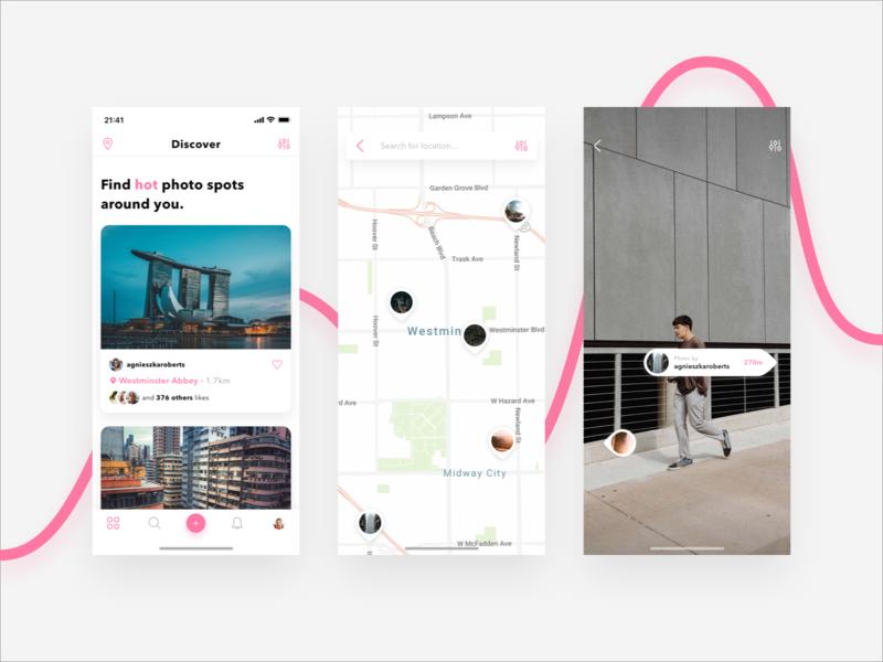 Photo Spots / App experience travel app app design spots travel newsfeed navigation map marker map ui augmented reality ar photo photo app app ux ui