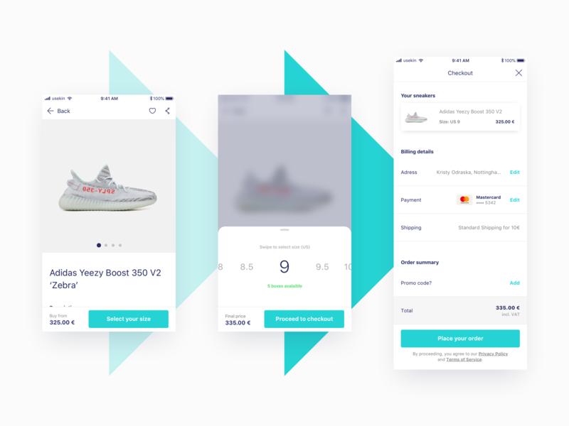 Fluffy App / Shopping process process basket shopping basket conversion mobile app design select size sneakers shopping mobile app app e-commerce ux ui