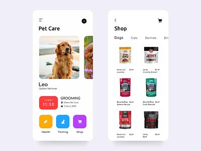 Pet Care health shop cat dog petcare petapp petshop pet android ios app uiux ux ui