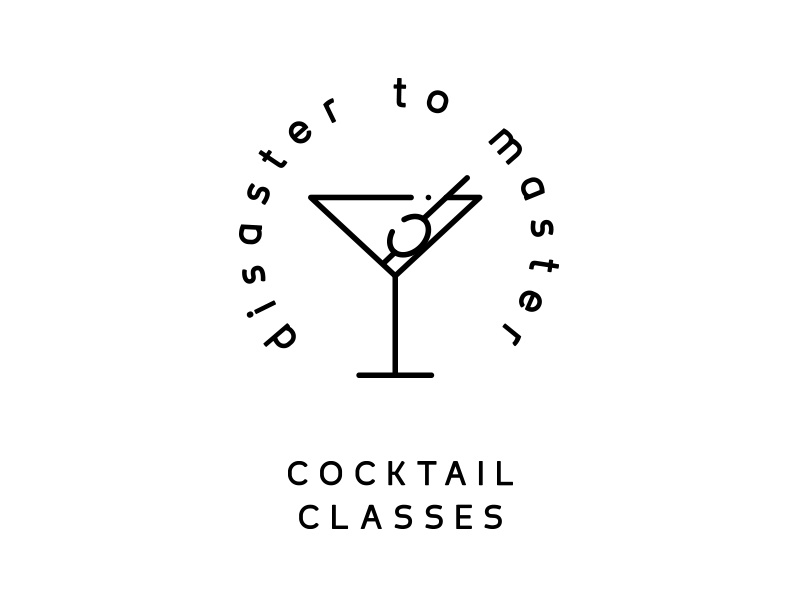 disaster to master icon line design bulgaira sofia classes cocktail typography logo