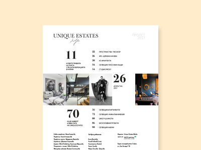 UES Magazine Content Page Spring 2017 issue spring bulgaria sofia page content estates design layout magazine