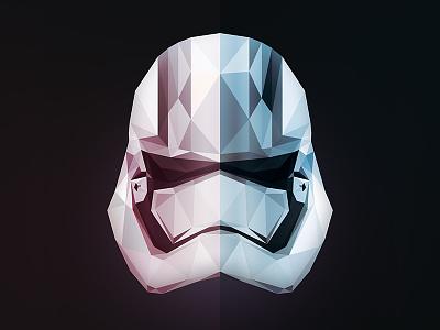 Phasma the force awakens star wars stormtrooper low poly illustration helmet captain phasma