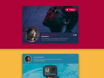 Social Profile Colorful Cards #DailyUI #006 colorful profile page profile card dailyui 006 006 dailyui