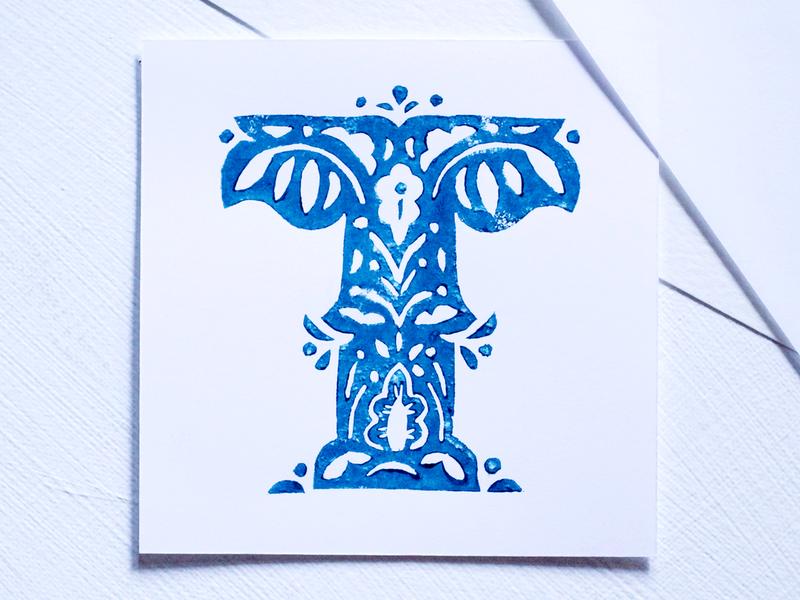 T type blue blockprint linoprint linocut alphabet letter t letter t 36 days t 36dayst 36 days of type 07 36daysoftype07 36 days of type 2020 36daysoftype2020 36 days of type 36daysoftype