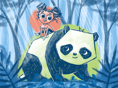 Let's Be Friends panda bear pet playing blue texture forest child kid children friends pandas panda illustration