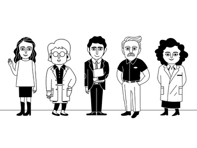 Characters black and white character jobs pharmacist patient medical illustration