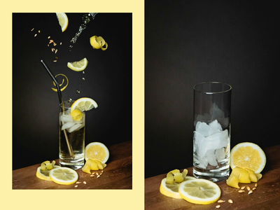 Cocktail: The Gray stop motion mixer lemon bar photography garnish food photography composite cocktail