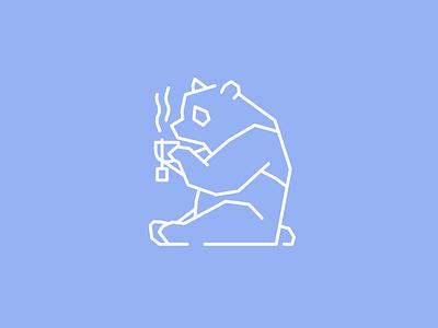 Tea Time panda bear icon illustration sitting hot teacup monoline tea time tea panda