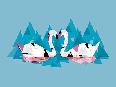 Two Swans love swan modern prism digital vector illustration