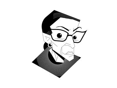 Ruth Bader Ginsburg line art portrait drawing digital vector character character design illustration