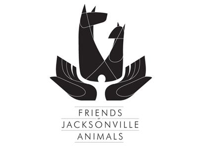 Friends of Jacksonville Animals Logo (B/W) black white animals hands dog cat negative space