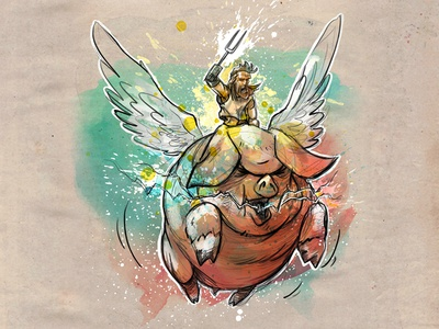 Prophecy Fulfilled! wings pig legend fantasy watercolor sketch character book digital drawing illustration