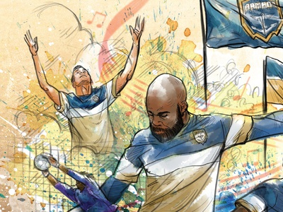 Jacksonville Armada Cultural Arts Gameday Poster collage poster football soccer watercolor sketch colorful digital drawing illustration
