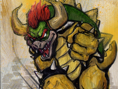 Love, Bowser mixed media mario videogame nintendo character spray paint marker drawing painting illustration