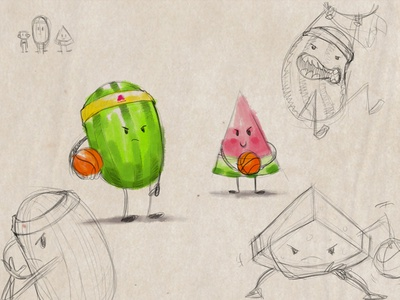 Basketball with a Watermelon animation cartoon sports basketball fruit character design character sketch concept