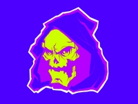 Laughing Neon Skull Head