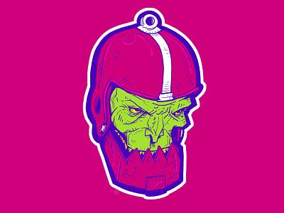 Menacing Robotic Henchman metalic zombie trapjaw neon motu illustration drawing digital character design character
