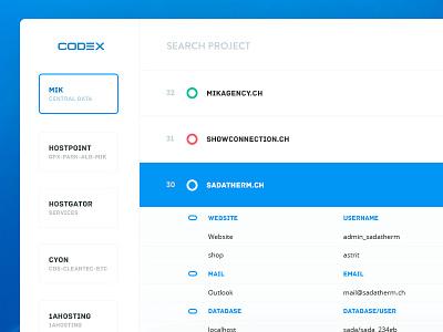 CODΞX web app sensitive data codex