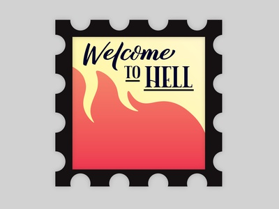 Welcome To Hell hell illustration design stamp