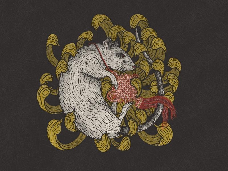 Year of the Rat chinese new year illustration tattoo halftone lunar new year procreate chrysanthemum rat