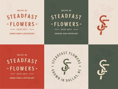 Steadfast Flowers branding farm flower logo apothecary monogram typogogrphy logo flowers flower