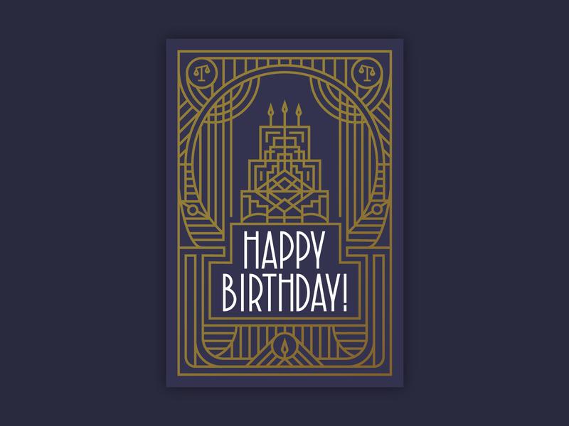 Happy Birthday! custom type lawyer law scale cake birthday bash happy birthday cake deco art deco mono line type gold typography