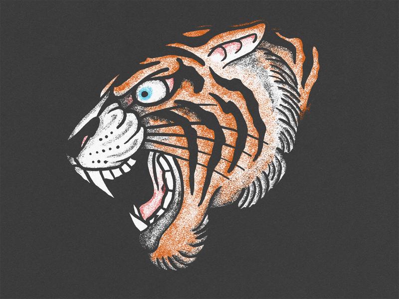 Tiger truegrittexturesupply truegrit mean animal handdrawn illustration texture tigers clemson tattoo traditional taditional tattoo tiger