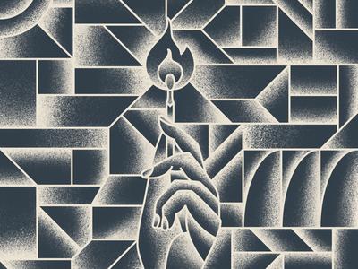 Sacred Hand grit grain gradient sacred line art deco geometric tattoo hand holding cubism pattern match fire hand