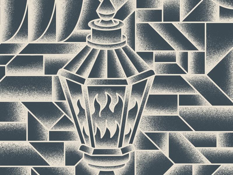 Lantern pattern lamp oil lamp fire gradient grain lantern