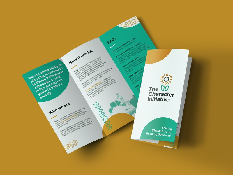 TCI Trifold layout mockup nonprofit school patterns brand implementation print brochure trifold