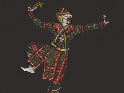 Hanuman dancer mask khon hanuman hand drawn illustration thailand monkey