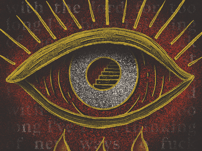 Lich Prince illustration grain lyrics foxing iconography texture procreate stairs eye