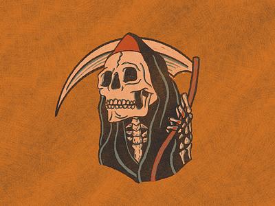 Spooky Boy spooky halloween october hood skull grim reaper illustration death scythe reaper skeleton