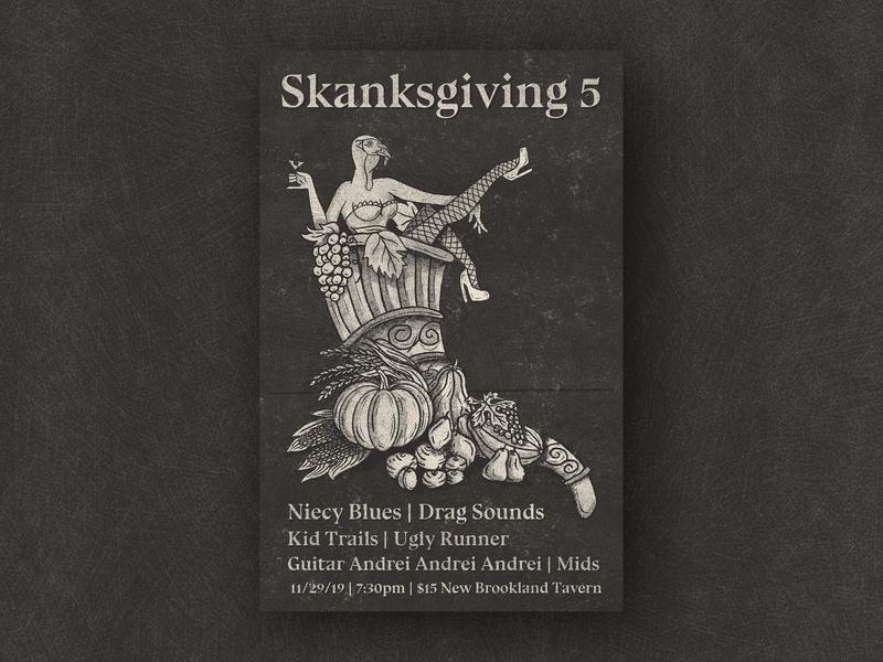 Skanksgiving 5 gig posters skank pumpkin poster cornucopia fruit pin up turkey skanksgiving thanksgiving gig poster