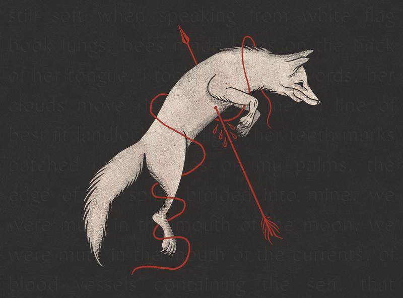 Broken Fox grain texture grit jump death arrow fox tattoo design halftone procreate illustration