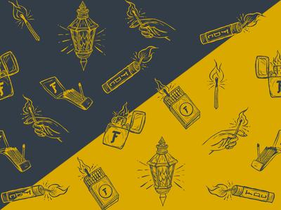 Icon Pattern dynamite hand fire icons set matchbook lantern match hand drawn lighter zippo tnt pattern icons
