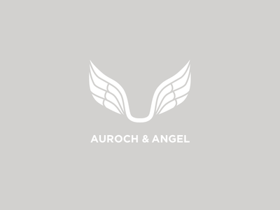 Auroch & Angel book publisher ox christian bible spiritual religious logo horns bull wings angel auroch
