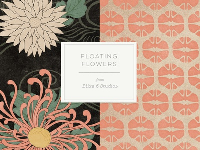 Floating Flowers Samples licensing graphic art repeating pattern design resources flat illustration japanese culture floral design japanese style japanese art