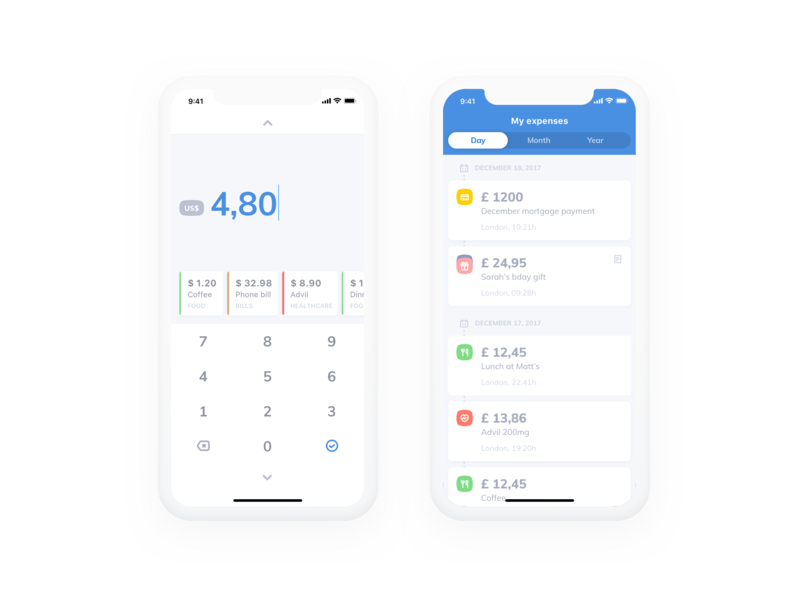 Dead simple expense tracker ai machine learning expenses money finance ios ux ui