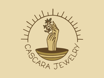 Cascara Jewelry jewelry design jewelry logo logo idenity sun plant cascara handmade jewelry hands branding type design badge procreate illustration