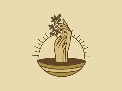 Cascara Jewelry Icon bowl sun fauna plant hands jewelry cascara branding design badge procreate illustration