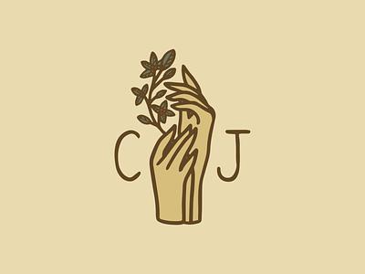 Cascara Jewelry - Monogram jewelry plant hands icon logo branding badge procreate illustration