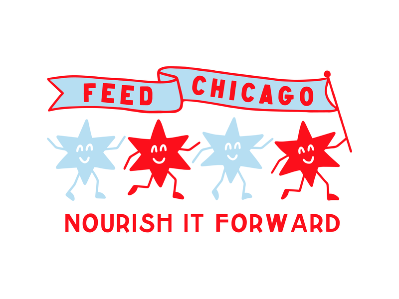 Feed Chicago non-profit branding character smile forward nourish march star food feed non-profit charity flag illinois chicago logo branding type procreate badge illustration