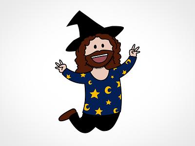 Knuspermagier illustration vector photoshop magic comic cute beard hat moon stars