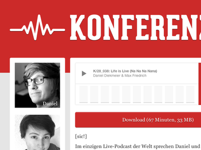 Konferenz 28 website podcast red audio two columns responsive