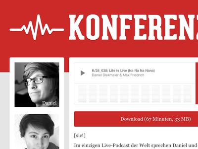 Konferenz 28 website podcast red audio two columns responsive