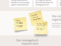Post Its for the landing page