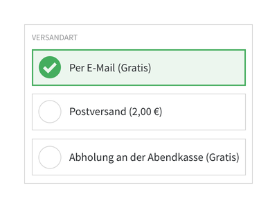 Shipping input form checkmark green radio button radiobuttons